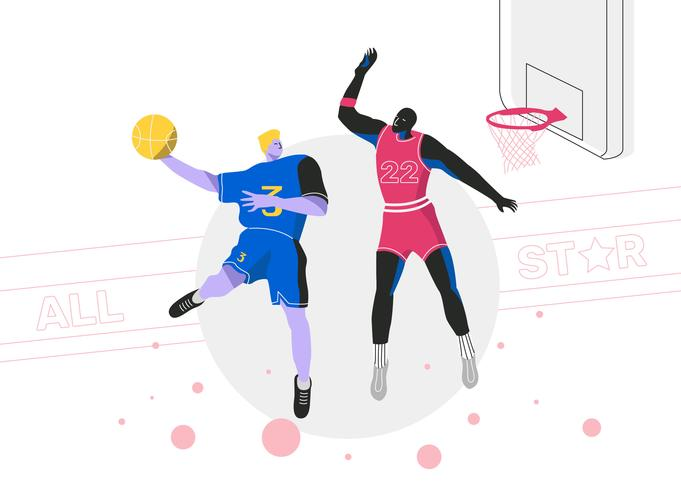 slam dunk basketball spelare all star vektor platt illustration