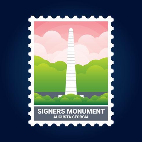 Signers Monument Illustration Augusta Georgia United States Stamp