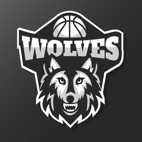 Wolven Basketbal Mascotte Vector