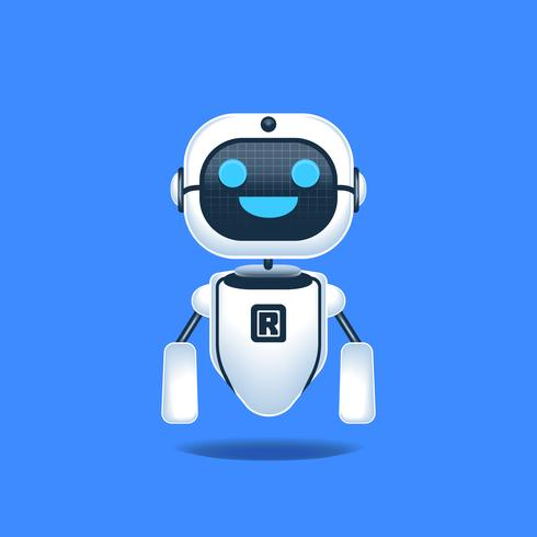 Robô alegre isolado na ilustração do conceito de fundo azul