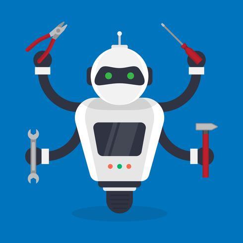 Ilustração futurista de humanóides e pequenos robôs mecânicos