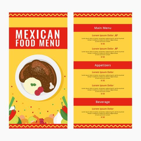 Comida mexicana Menu Vector Illustration