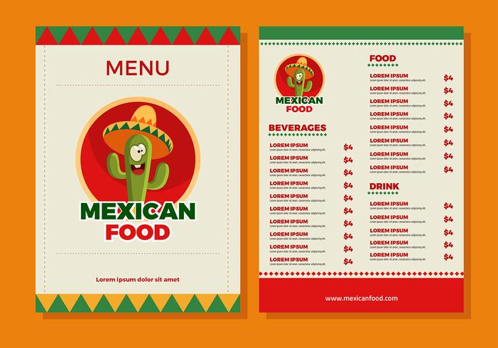 Mexican Food Menu Template Vector