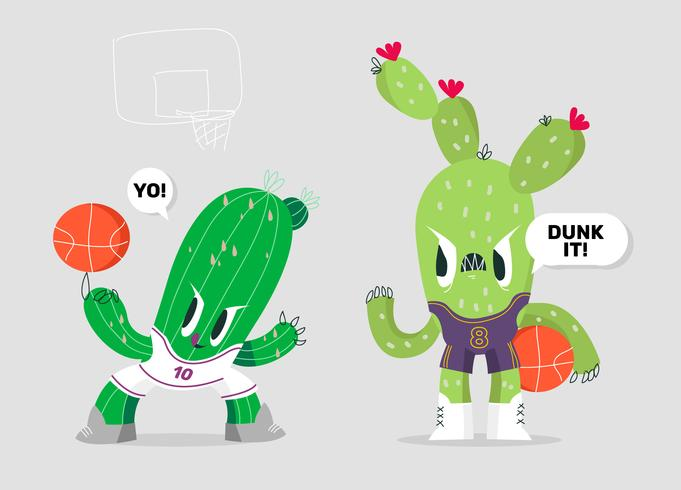 Funny Cactus Character Basketball Mascot Vector Illustration