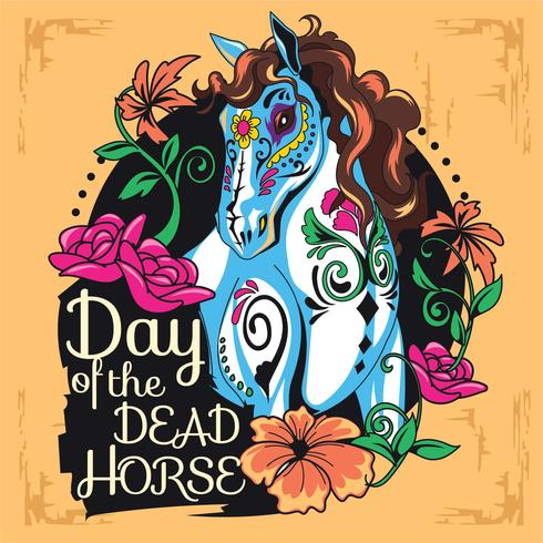 Cute Horse Sugar Skull Illustration Estilo para el Día de los Muertos