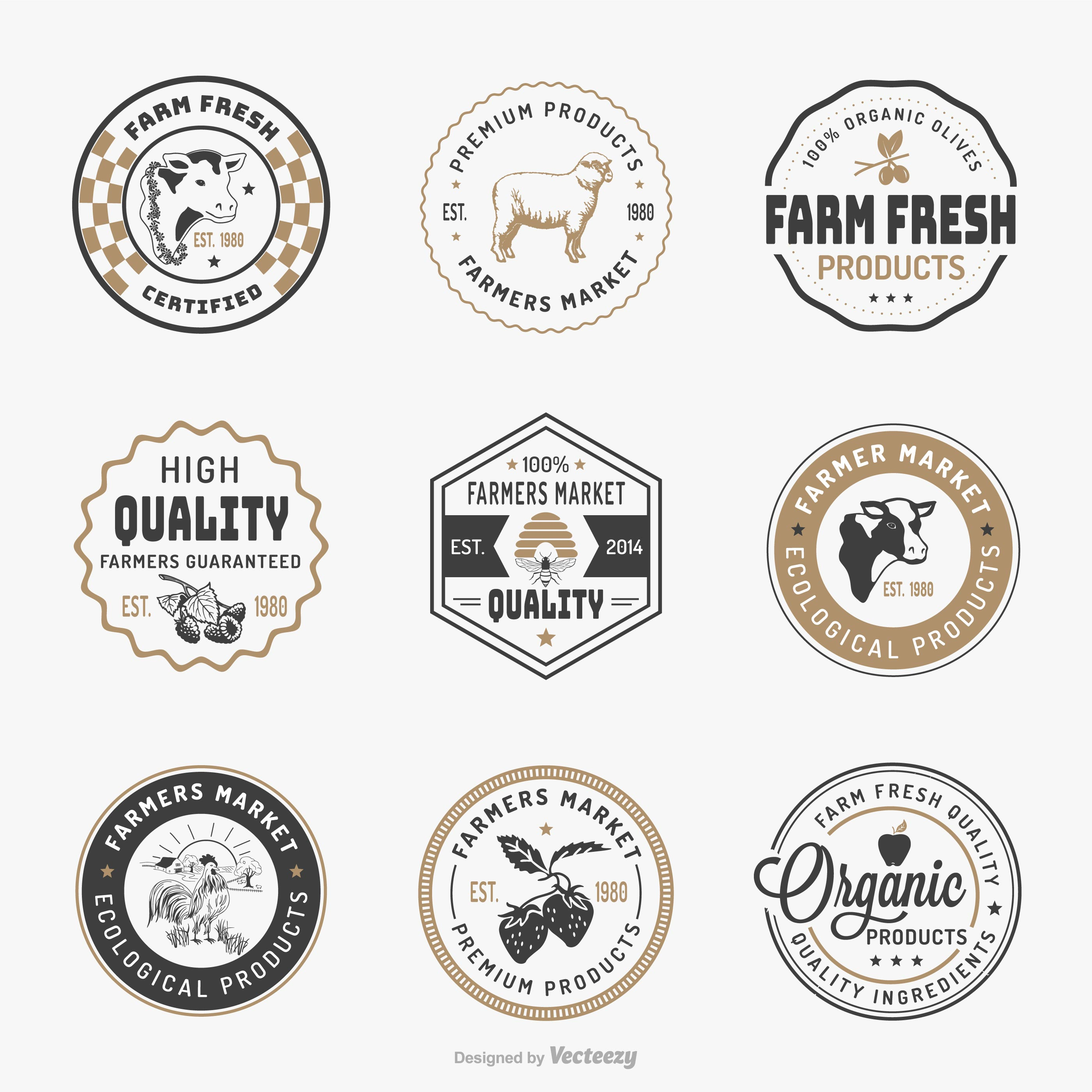 farmers market logo template vector set download free
