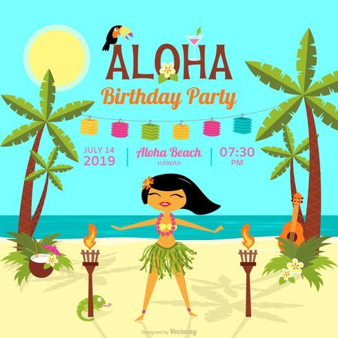 Cartão de vetor de festa de aniversário polinésia dos desenhos animados