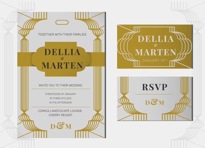 Grey Gold Art Deco Line Art Wedding Invitation Template Vector