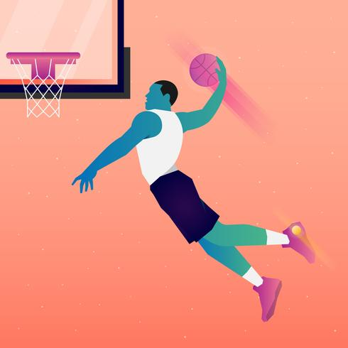 Basketbalspeler springt naar Dunk illustratie