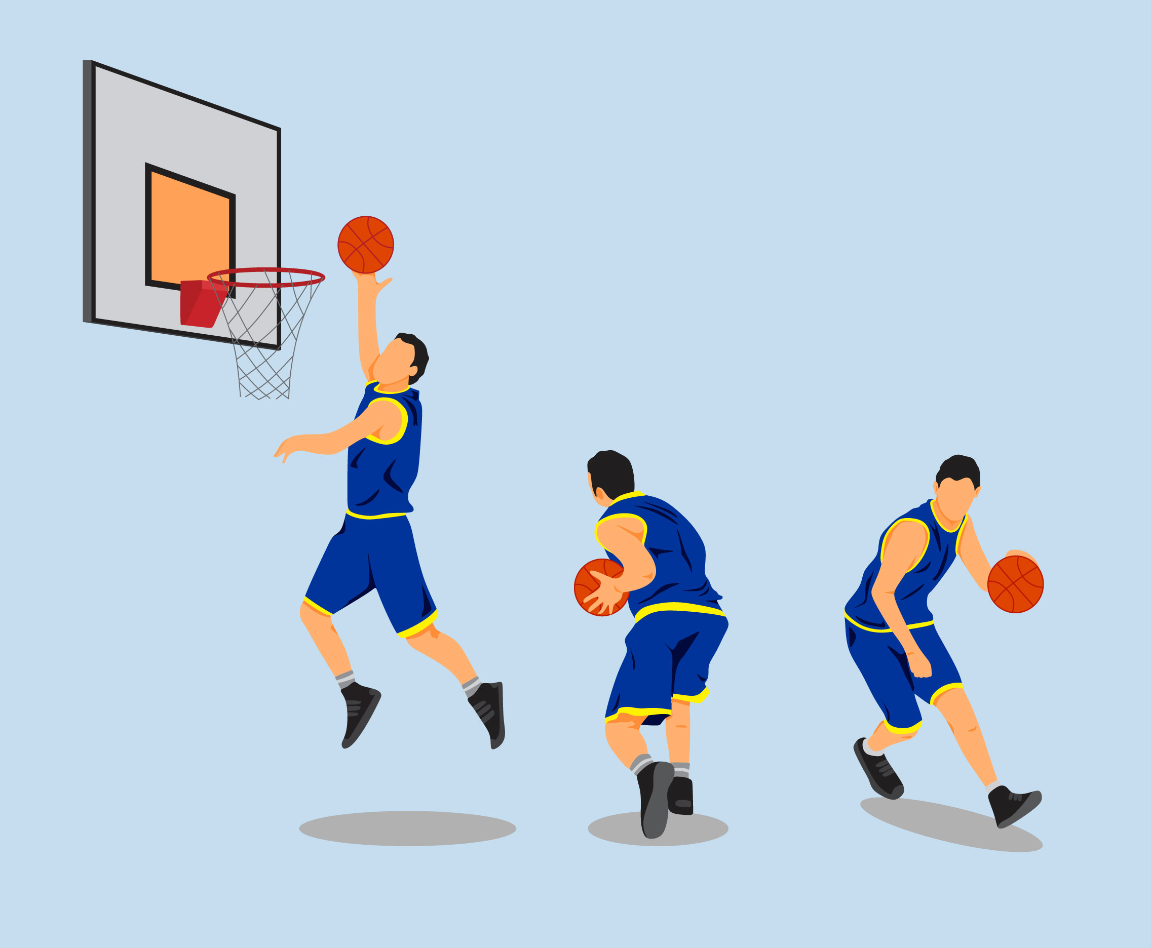 basketball athletes vector