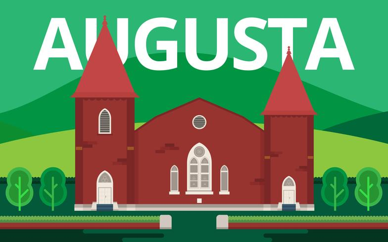 Augusta City Landmark. Augusta Georgia Postcard Illustration.