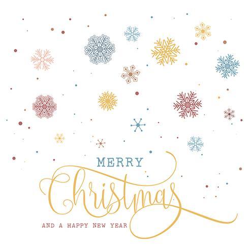Jul och nyår bakgrund med snöflingor och dekorativa