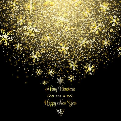 Golden Christmas snowflakes background
