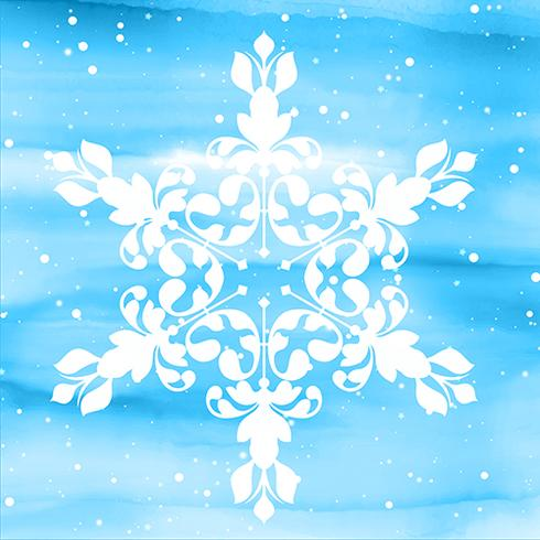 Decorative snowflake on watercolour background