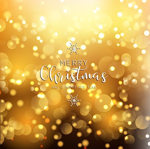christmas and new year background with gold bokeh lights