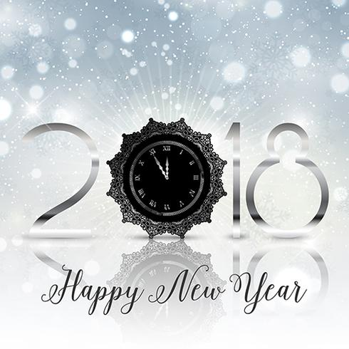 Happy New Year background with decorative clock