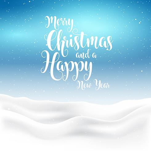 Christmas and new year background with snowy landscape