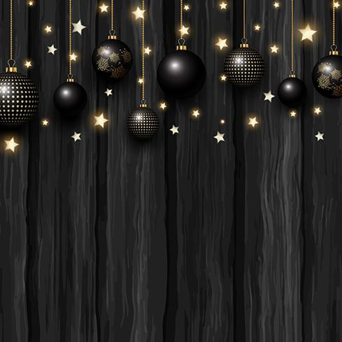 Christmas baubles and stars on a grunge wooden texture vector