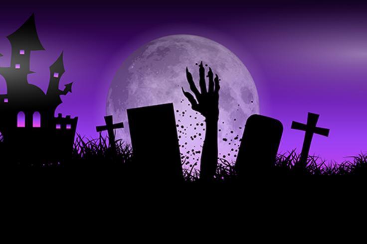 Mano de zombie en el paisaje de halloween vector