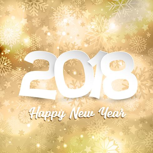Happy New Year text on gold snowflake background