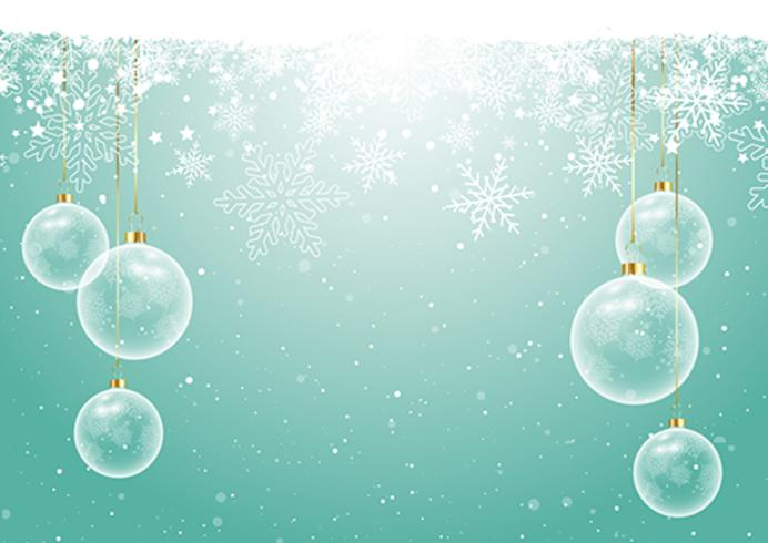 Christmas baubles on snowflake background  vector