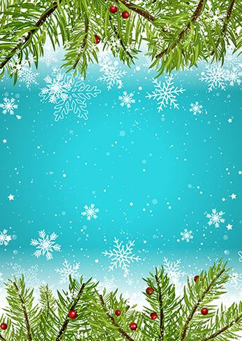 Christmas background with snowflakes and pine tree branches