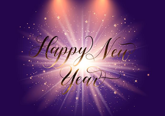 Elegant Happy New Year background with starburst design