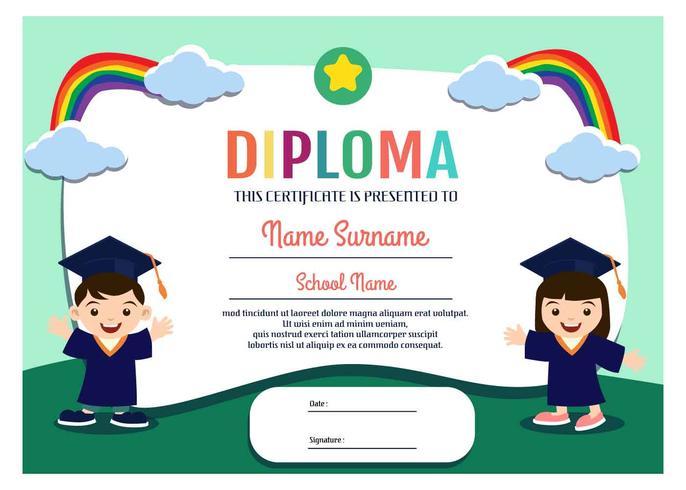 Modelo De Diploma De Jardim De Infância Vector