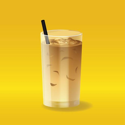 Iced Coffee Realistic Vector