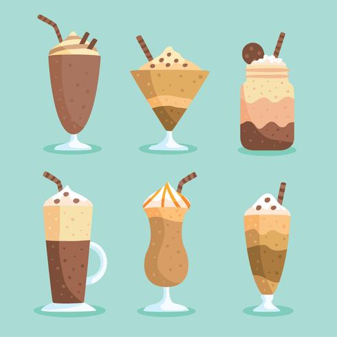 Flacher gefrorener Kaffee-Vektor