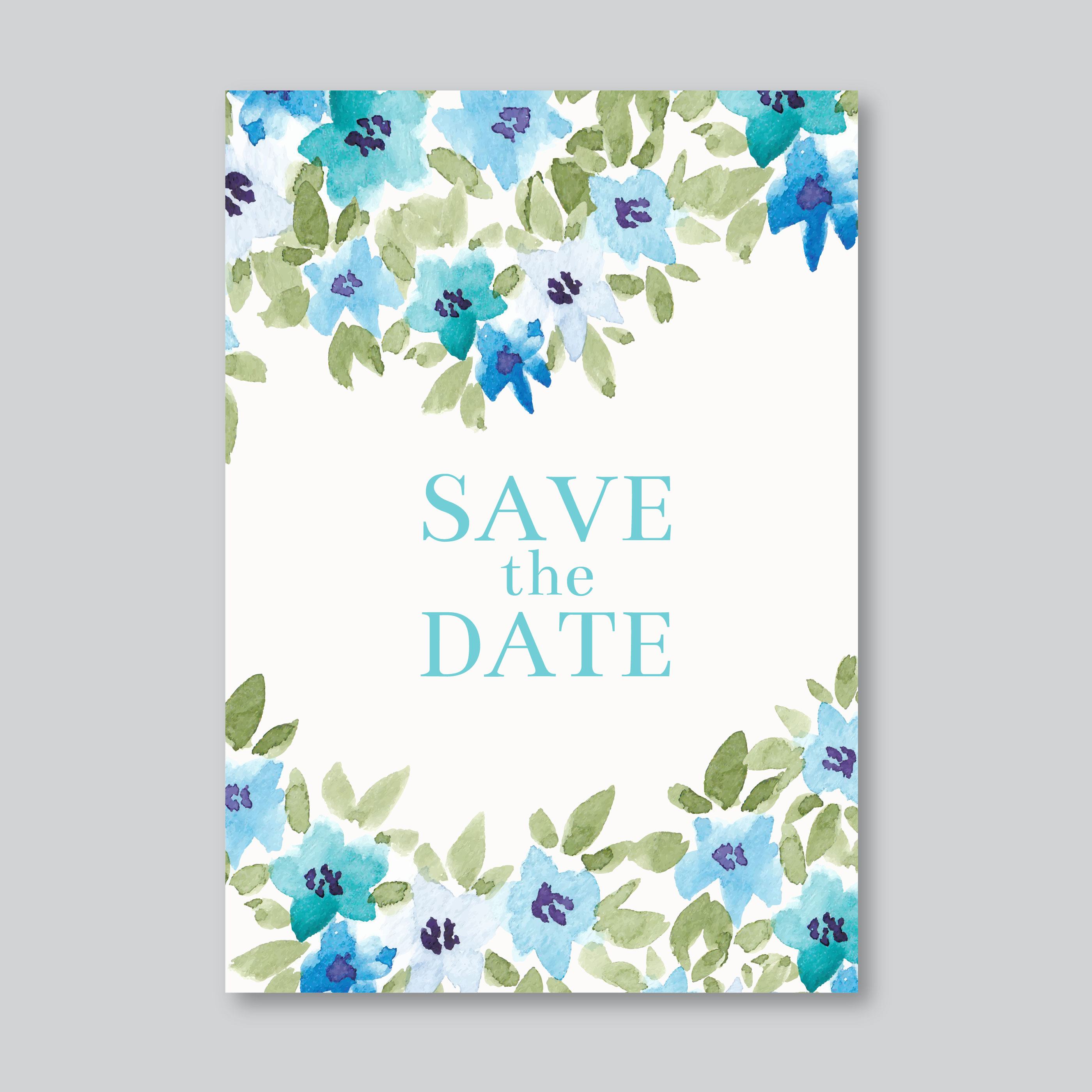 Watercolor Hand Draw Wedding Card Free Vector Art Stock Graphics Images