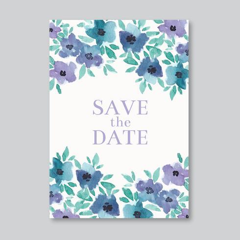 Cartão de casamento elegante da aguarela