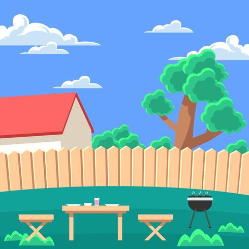 Backyard Grill Vector