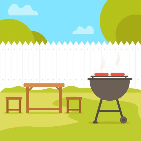 Ilustração plana de churrasco de quintal vetor