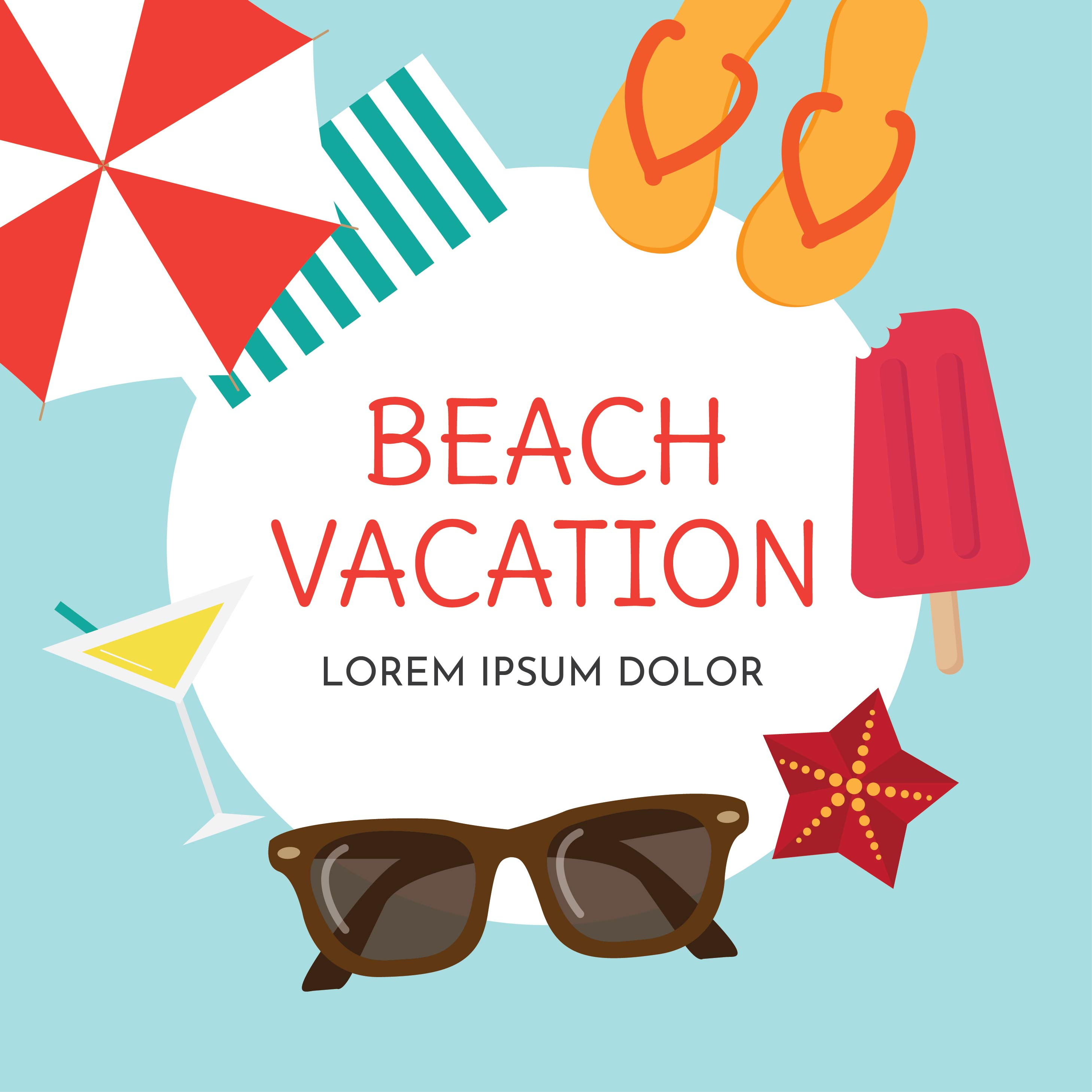 Beach Vacation Background - Download Free Vectors, Clipart ...