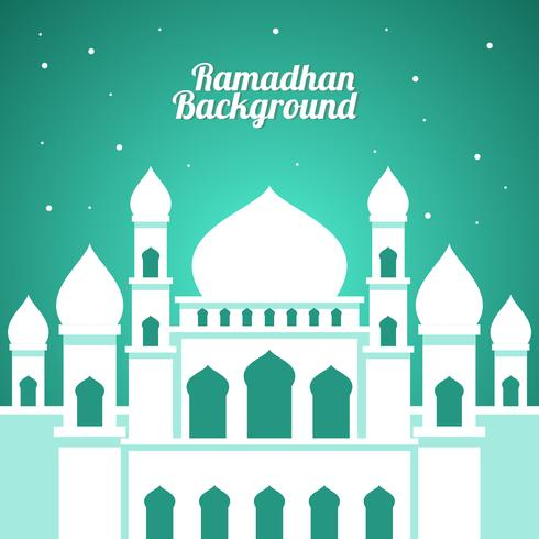 Mesquita Branca Ramadhan Background Vector