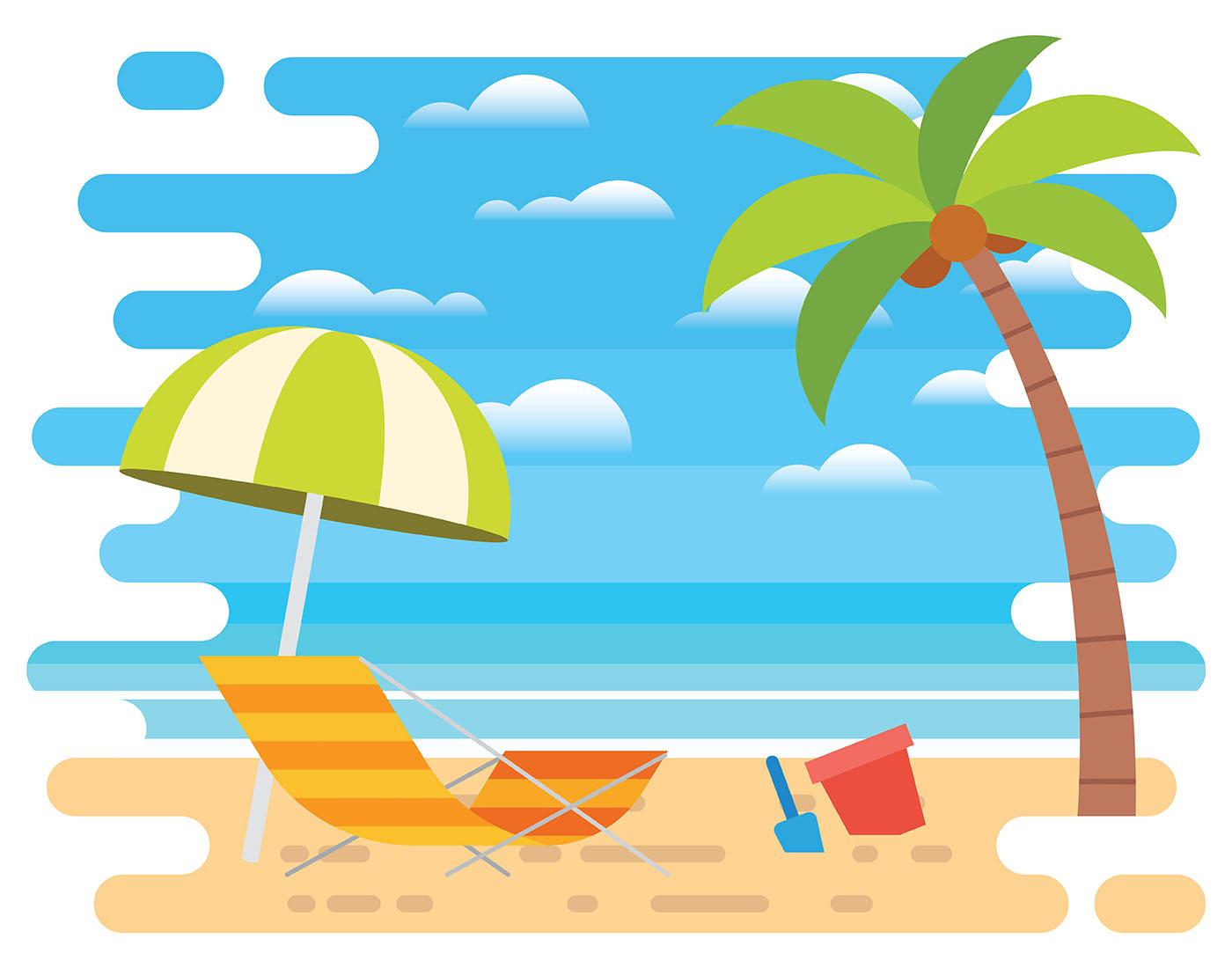 Beach Vacation Illustration - Download Free Vectors ...