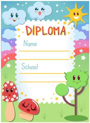 kleuterschool diploma vectoren