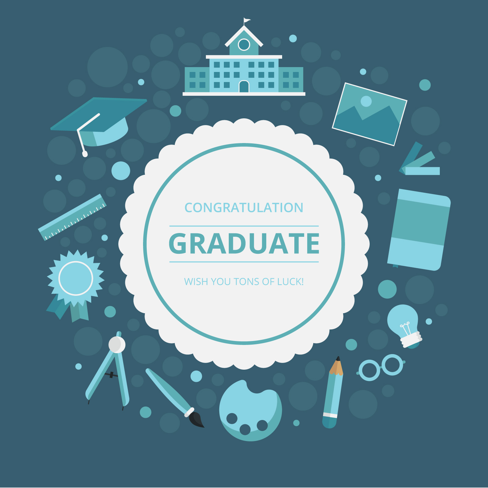 Graduation Card Greetings With School Or University Stationery And