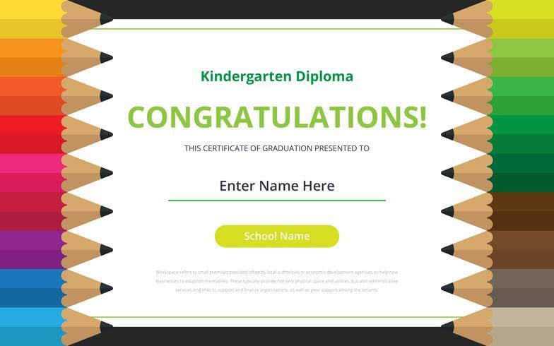 Plantilla de certificado de diploma de jardín de infantes ...