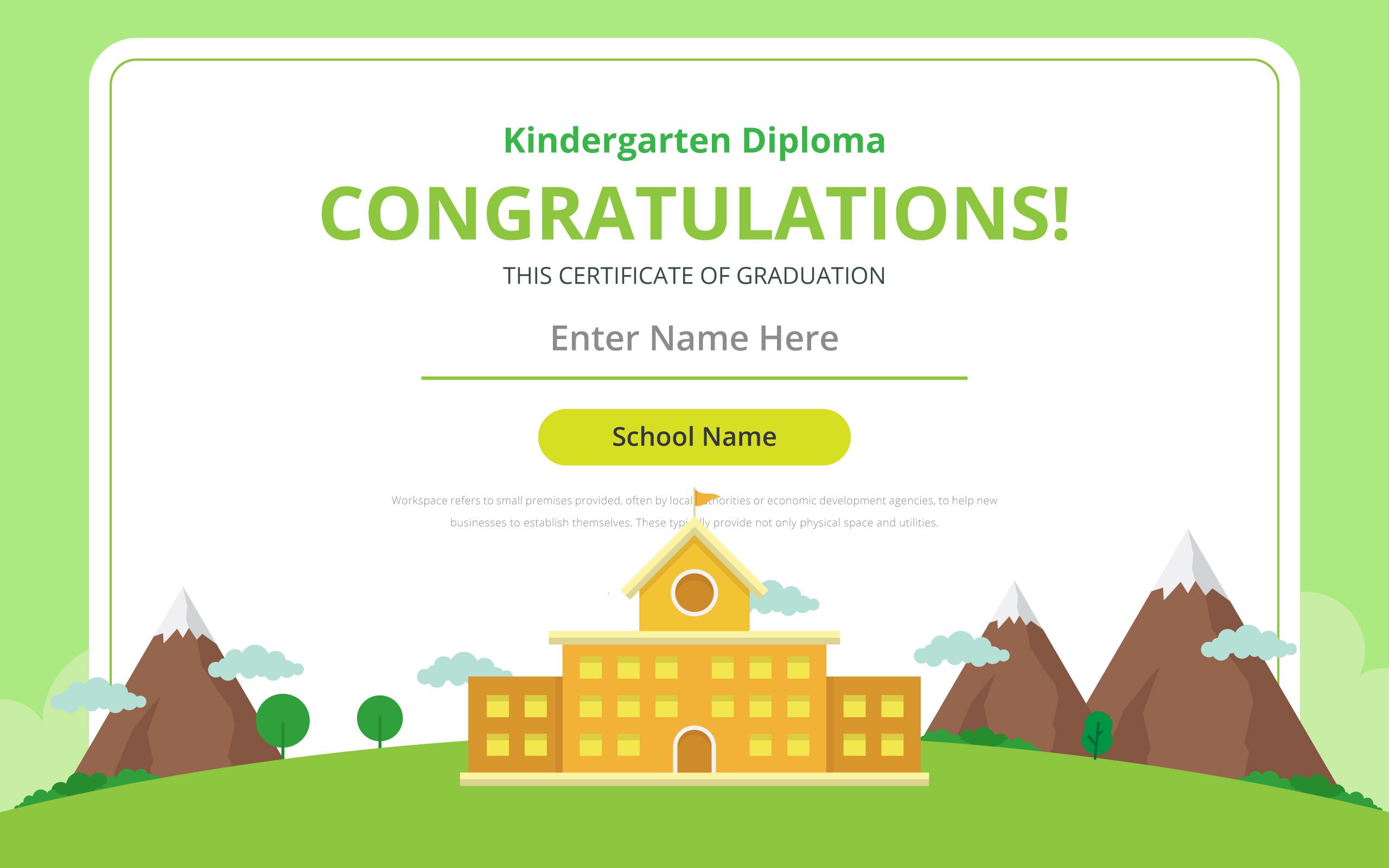 Kindergarten Diploma Certificate Template Download Free Vector Art