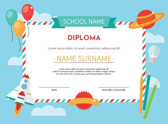 kinder diploma template  Kindergarten Diploma Template - Download Free Vector Art, Stock ...
