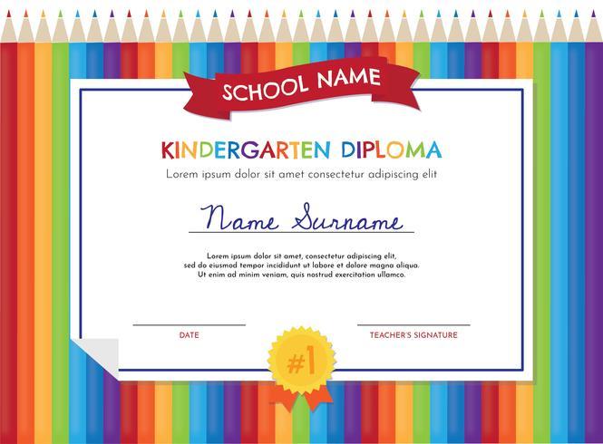 Plantilla del Diploma de Kindergarten vector