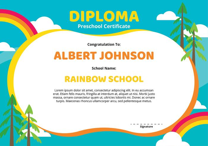 Diploma Preschool Certificate Template Download Free Vector Art