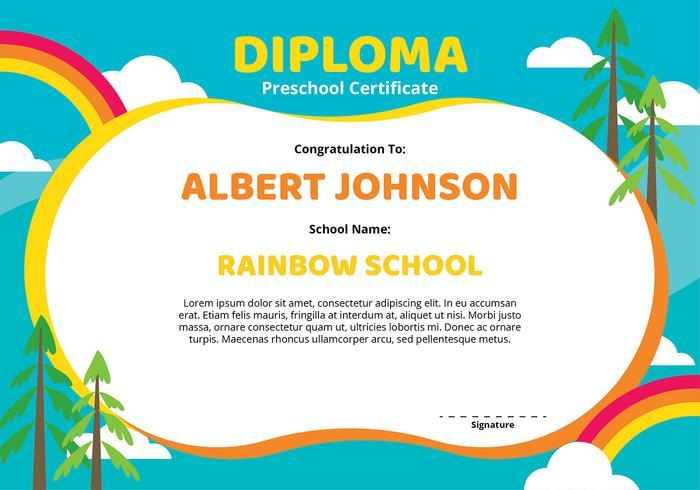 Diploma voorschoolse certificaatsjabloon