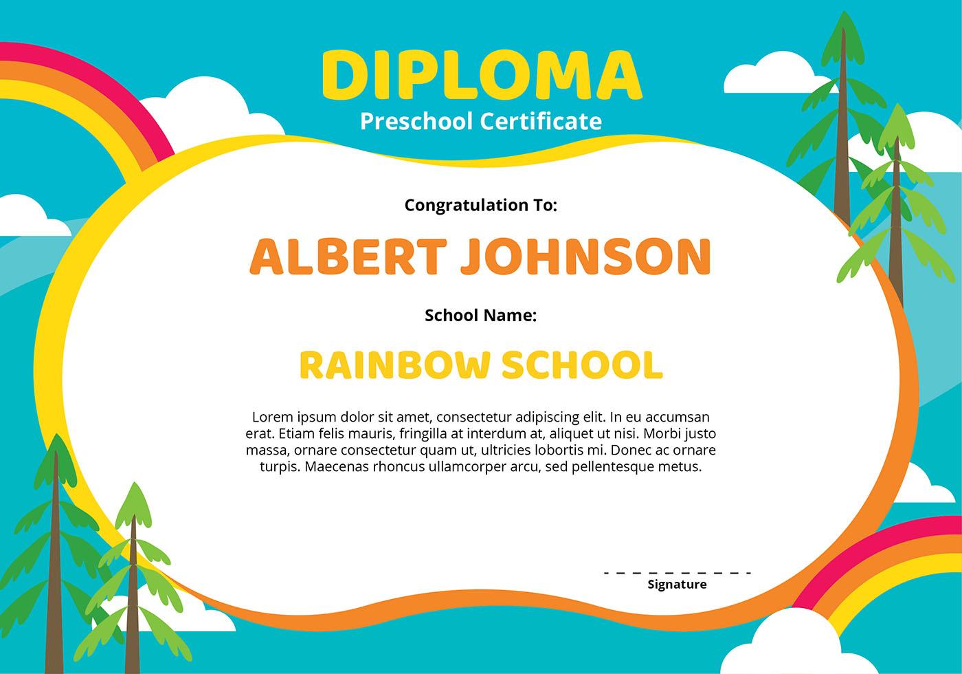 Diploma Preschool Certificate Template Download Free Vector Art