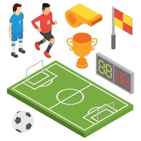 Conjunto de vetores de futebol isométrica