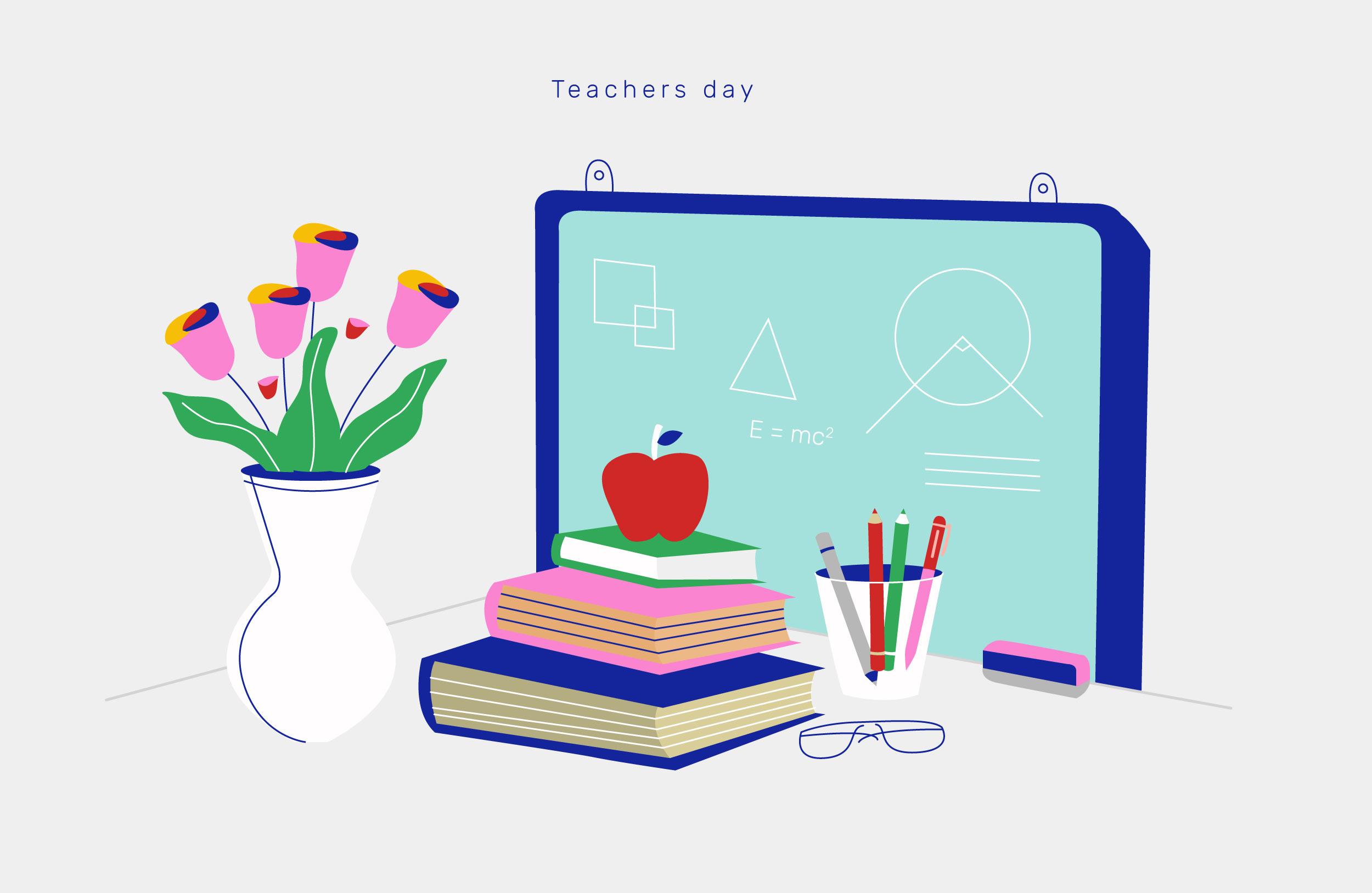 happy teachers day background vector illustration