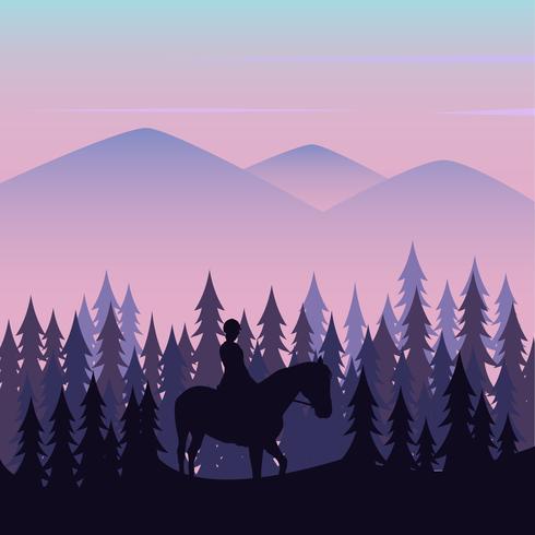 Wanderers utilisant des chevaux dans les montagnes vecteur