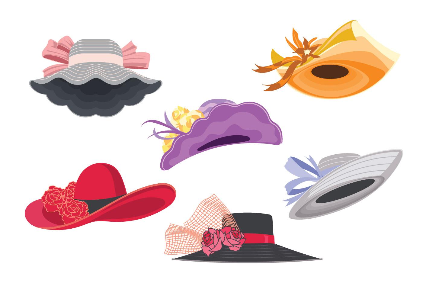 Illustration Set of Woman Derby Hats